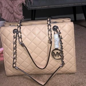 Tan Leather Quilted Michael Kors Tote